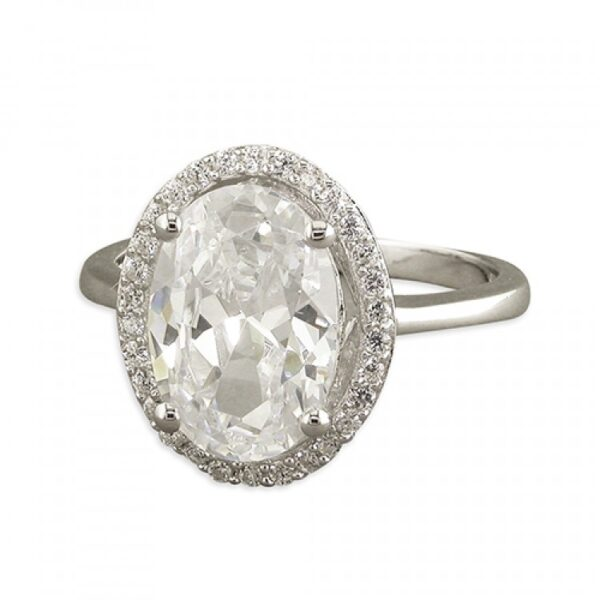 Large cubic zirconia oval with cubic zirconia halo