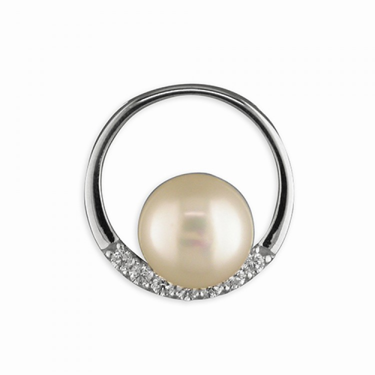 White fresh water pearl in cubic zirconia ring