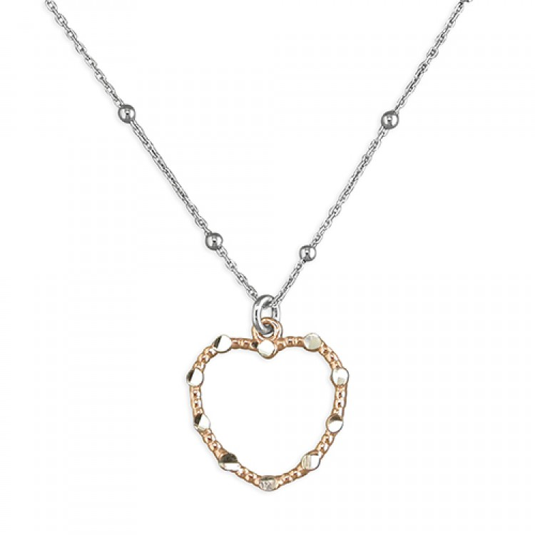 42cm/16.5in fancy rose gold plated outline heart