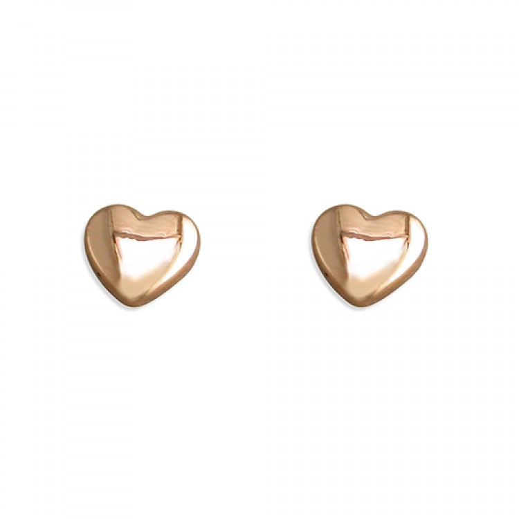 5mm rose gold plated small heart stud