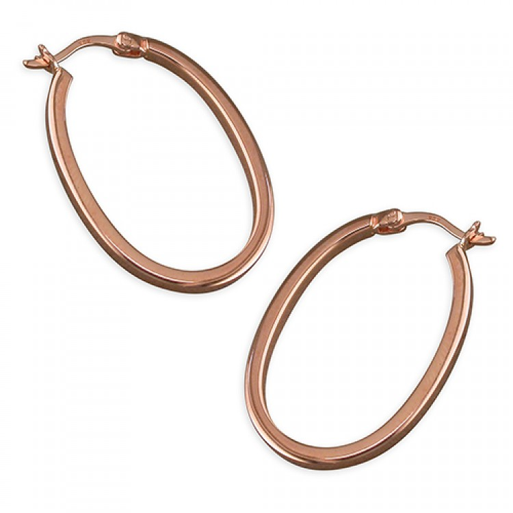 28mm rose gold plated oval hoop