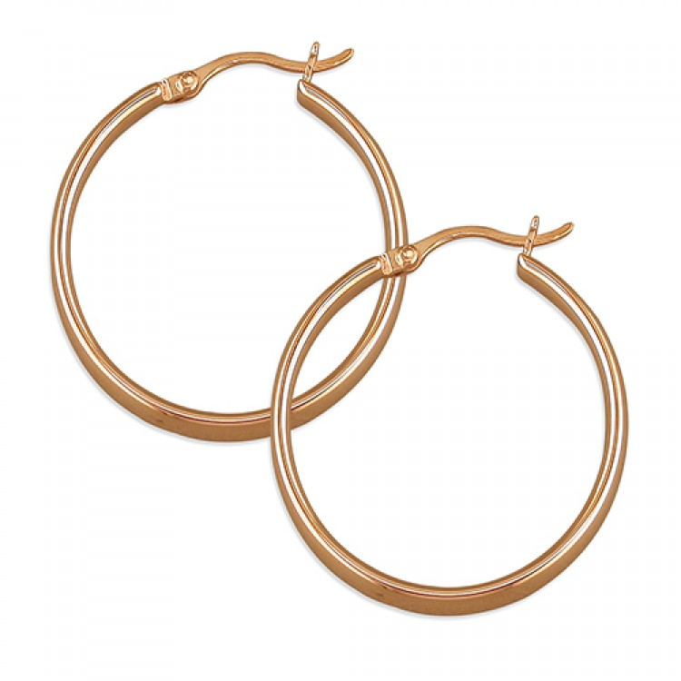 28mm rose gold plated flat creole hoop