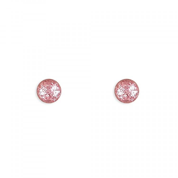 4mm Pink glitter ball stud