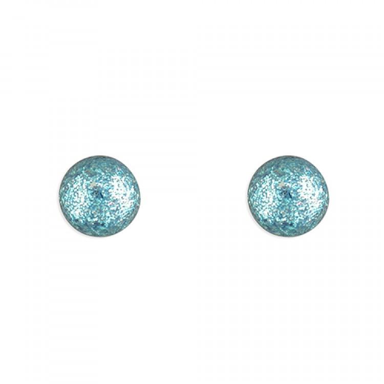 6mm Blue glitter ball stud