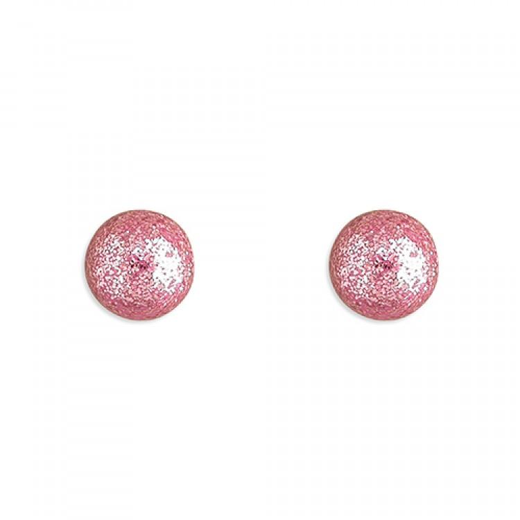 6mm Pink glitter ball stud