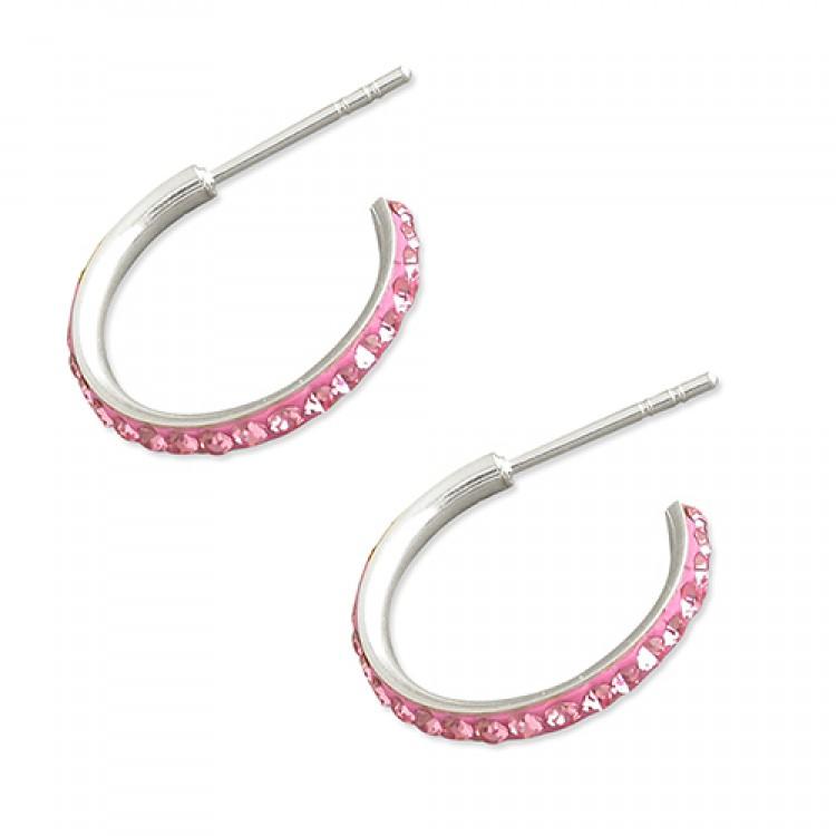 15mm Pink crystal stud hoop