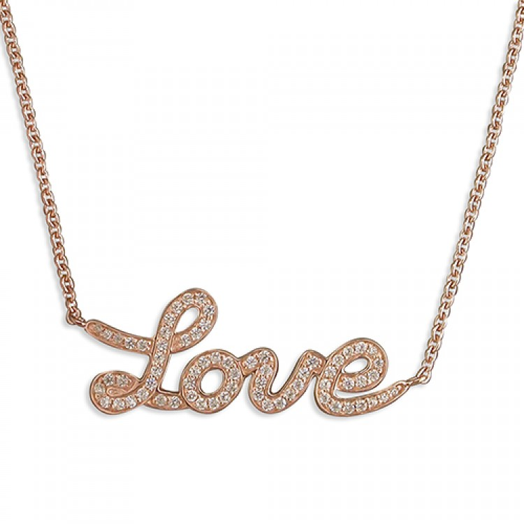 """42-45cm/16.5-17.75in rose gold-plated cubic zirconia """"Love"""""""