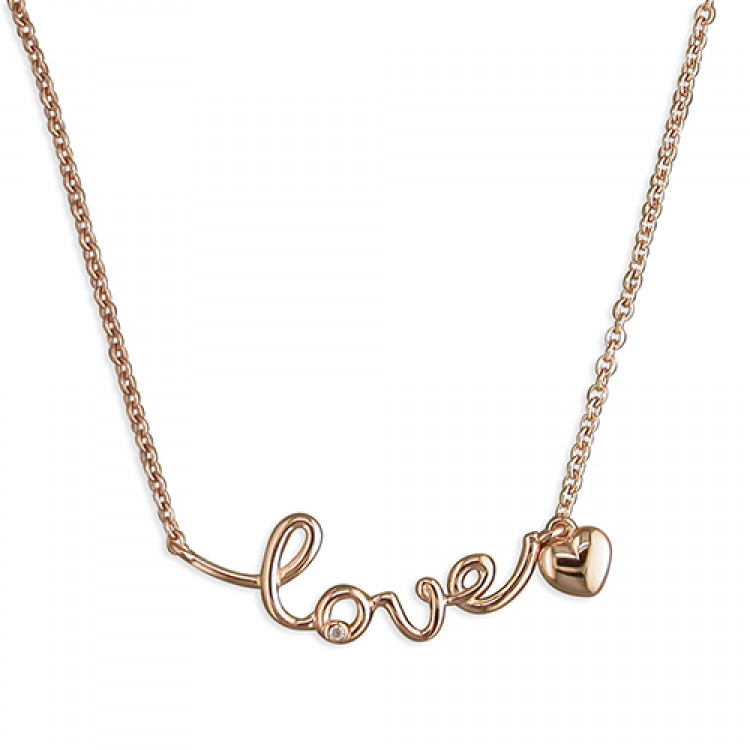 """41-44cm/16-17.75in rose gold-plated """"love"""""""