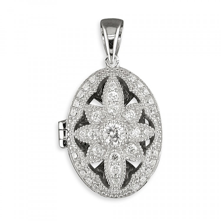 Cubic zirconia vintage flower oval