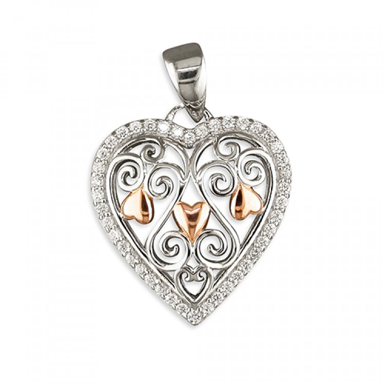 Filigree cubic zirconia rimmed heart with rose gold highlights