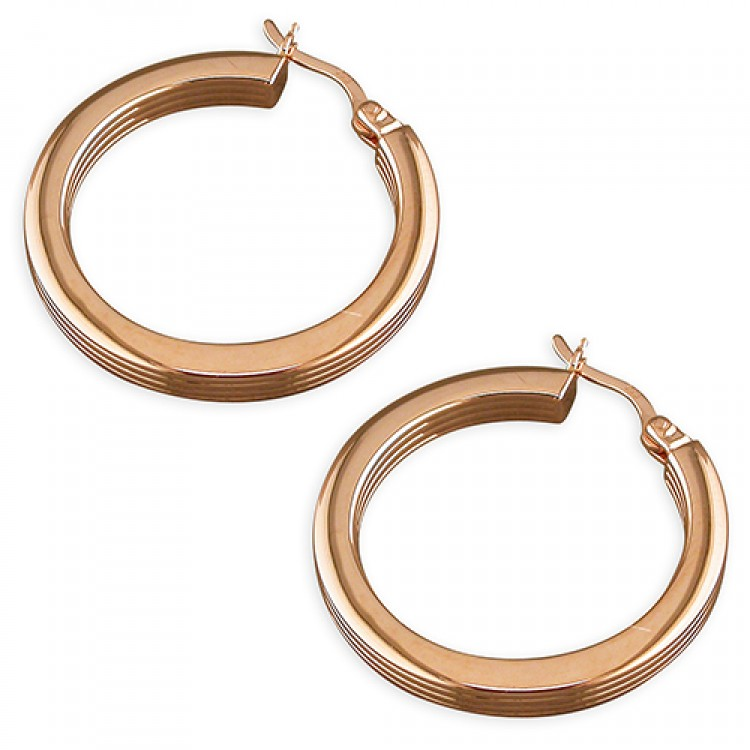 20mm rose gold plated square tube ribbed hoop