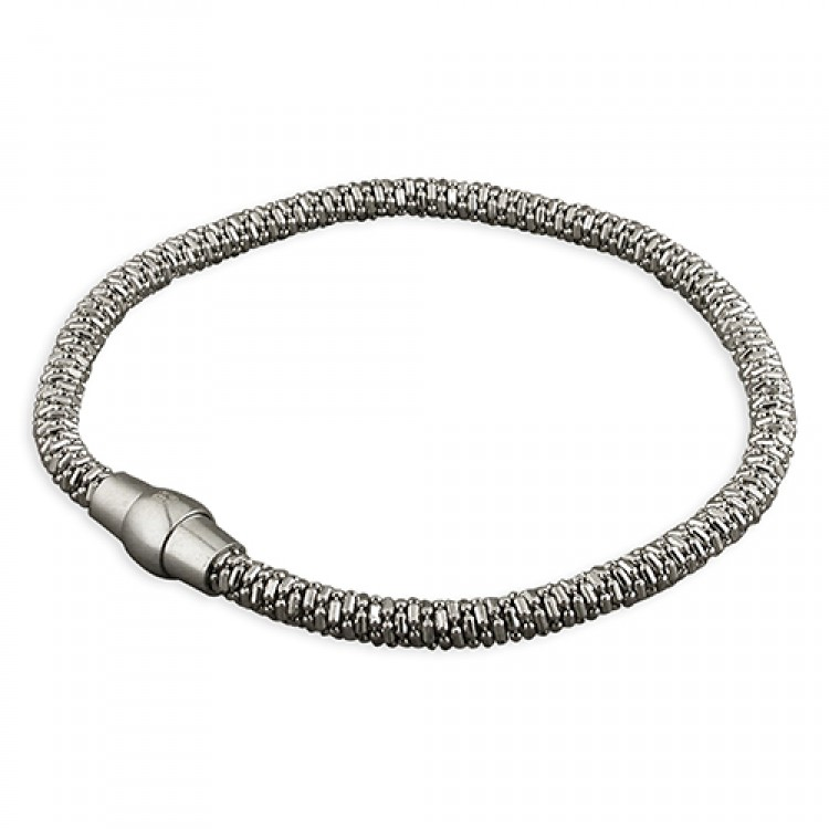 3.5mm Rhodium plated sparkle popcorn with magnetic clasp
