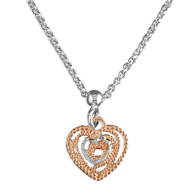 42cm/16.5in rose gold-plated diamond cut hearts