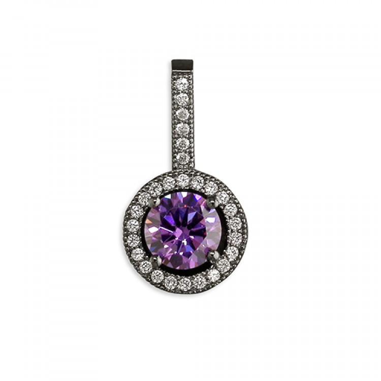 Black rhodium-plated purple cubic zirconia halo