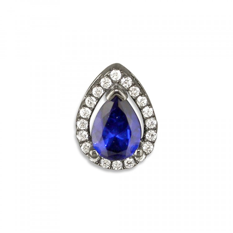 Black rhodium-plated blue cubic zirconia teardrop