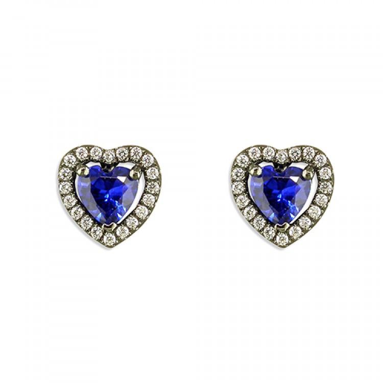 Black rhodium-plated blue cubic zirconia heart stud