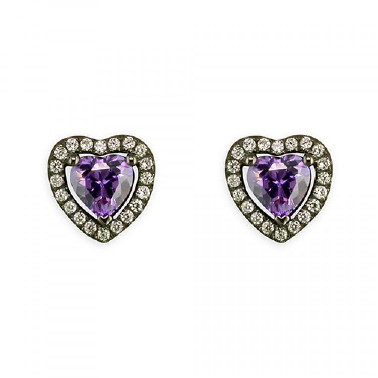 Black rhodium-plated purple cubic zirconia heart stud