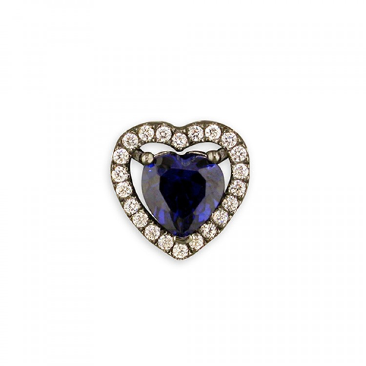 Black rhodium-plated blue cubic zirconia heart