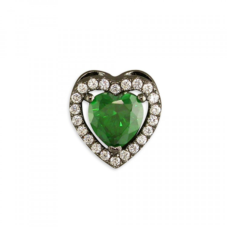 Black rhodium-plated green cubic zirconia heart