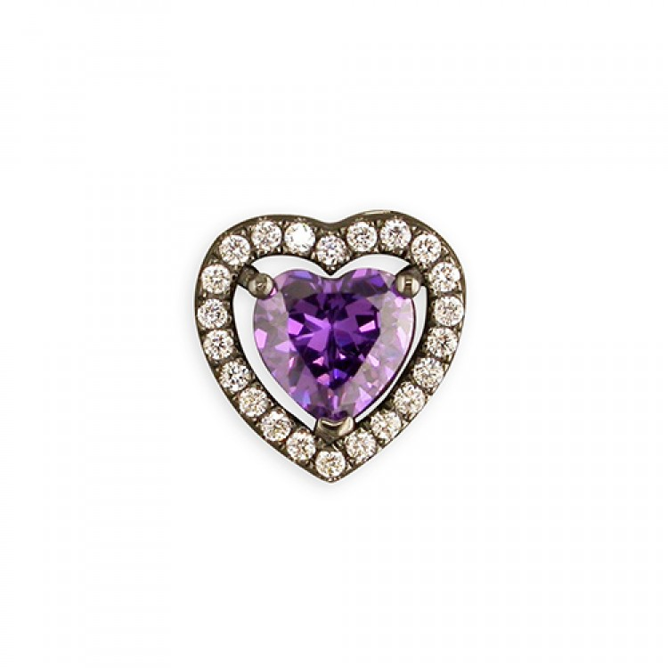 Black rhodium-plated purple cubic zirconia heart