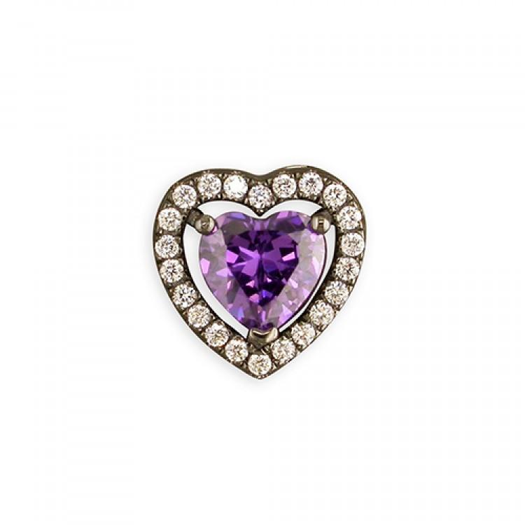 Black rhodium-plated purple cubic zirconia heart