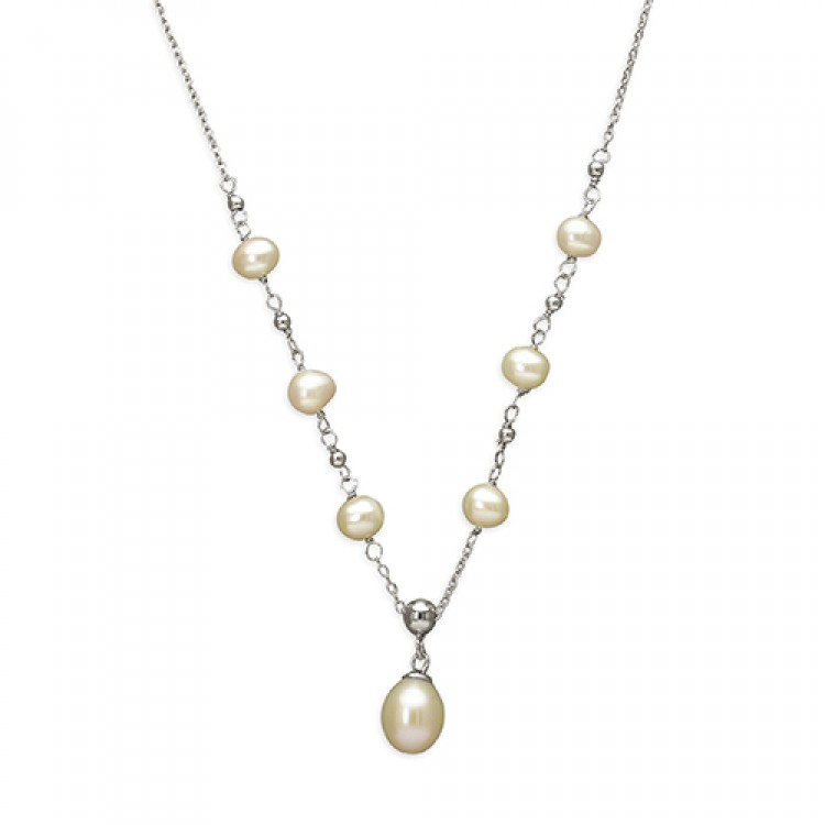 38-43cm/15-17in freshater pearls drop on chain