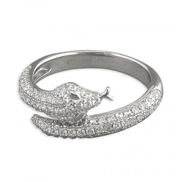 Cubic zirconia snake with tongue