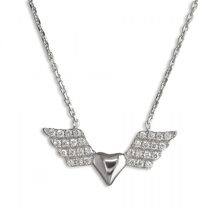 40-45cm heart with cubic zirconia wings