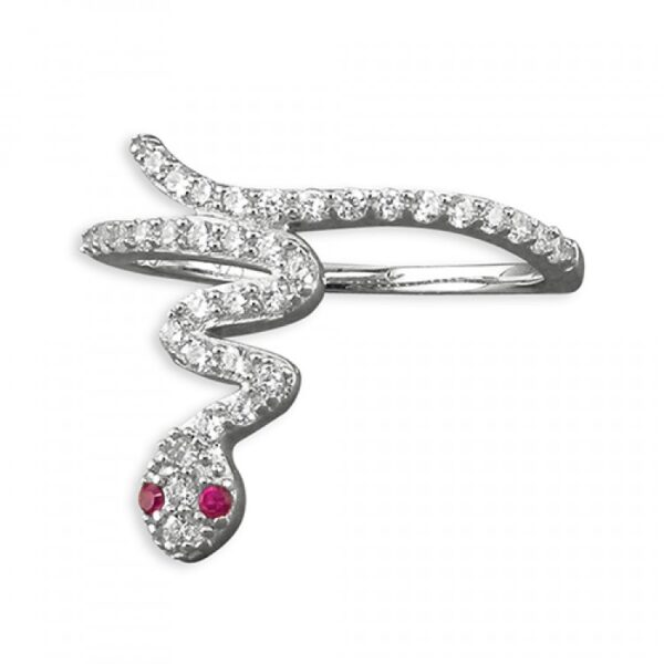 Cubic zirconia snake with red eyes