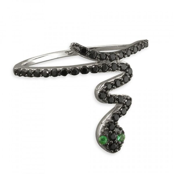 Black cubic zirconia snake with green eyes