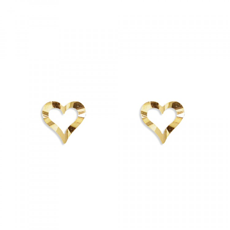 Small diamond-cut heart outline stud