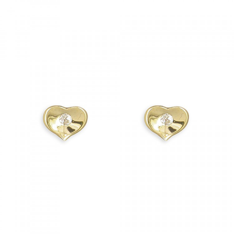 Small flat heart with cubic zirconia stud