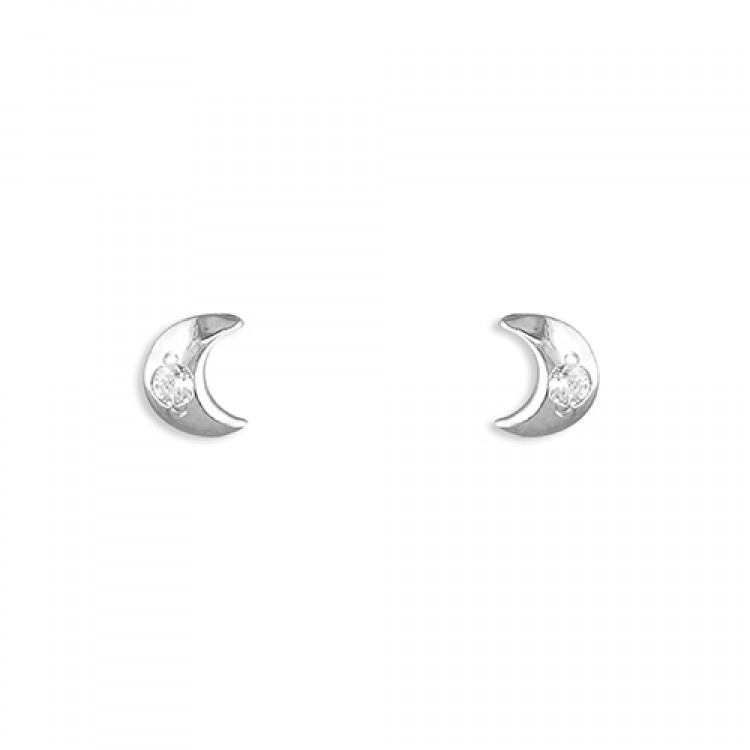 White gold small moon with cubic zirconia stud