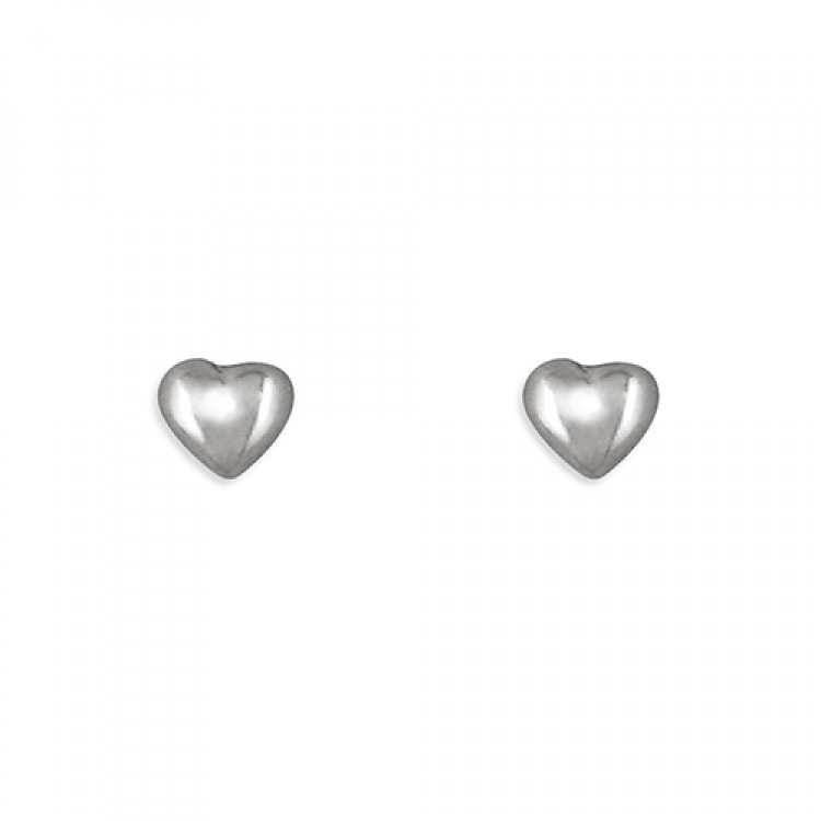White gold small heart stud