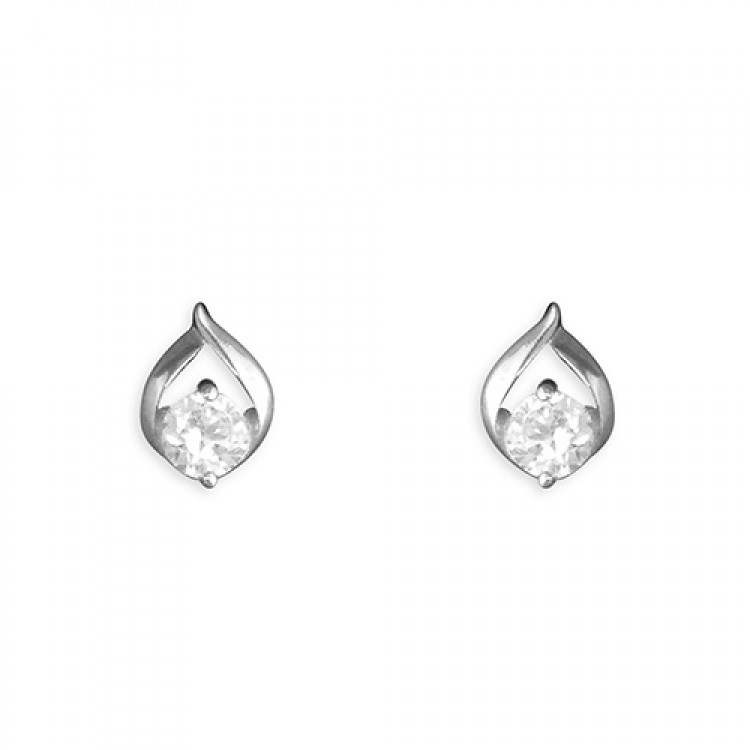 White gold leaf-outline cubic zirconia stud