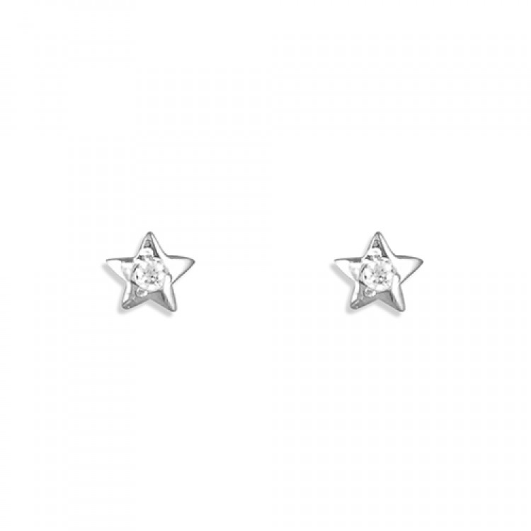 White gold small star with cubic zirconia stud