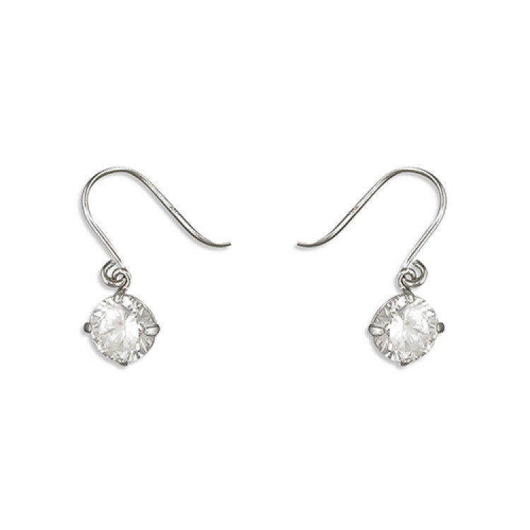 White gold 5mm cubic zirconia hook-in drop