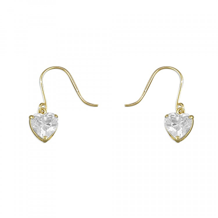 Heart-shape cubic zirconia hook-in drop