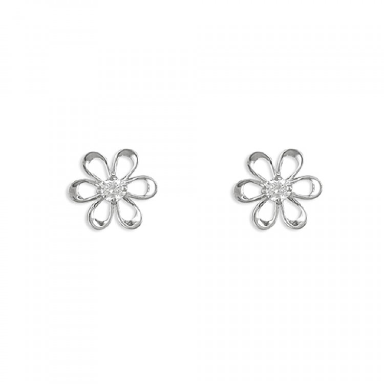 White gold flower-outline cubic zirconia stud
