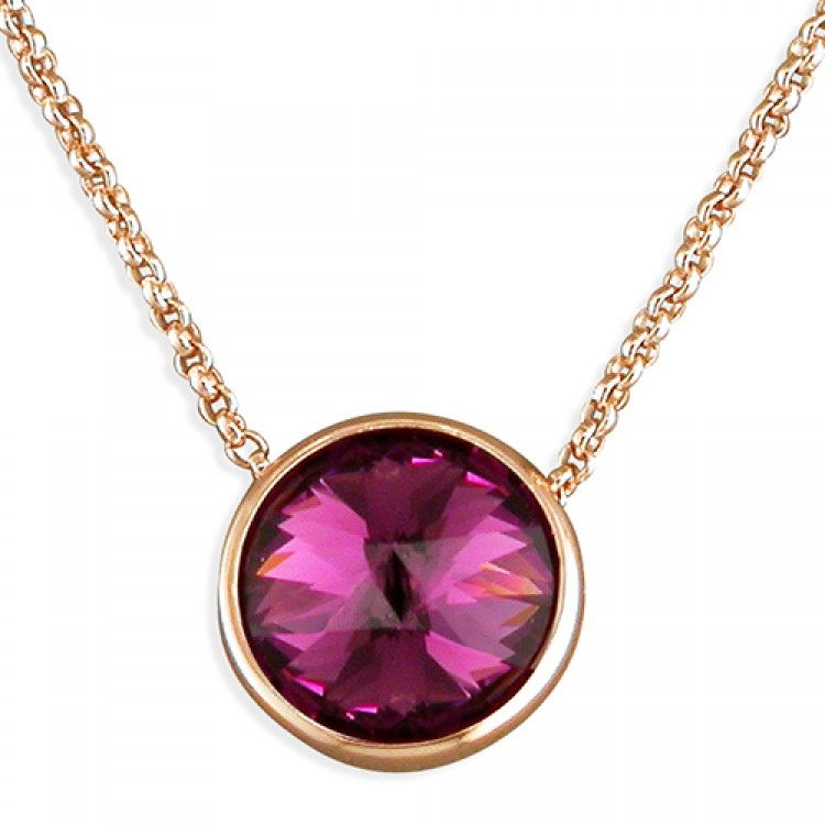 Purple Swarowski crystal on 40-45cm rose gold-plated chain