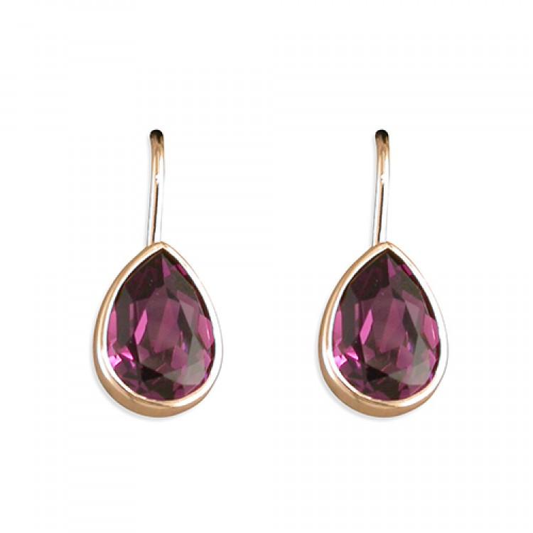 Rose gold-plated teardrop purple Swarowski crystal hook-in drop