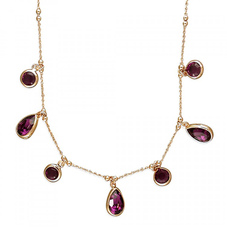 45cm rose gold-plated purple Swarowski crystals