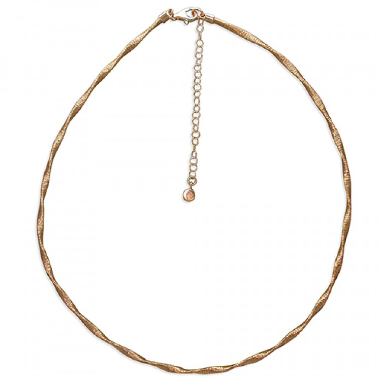 42-47cm rose gold-plated 3mm twisted wire-wrap