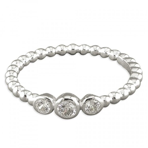 Triple rubover-set cubic zirconias on beaded band