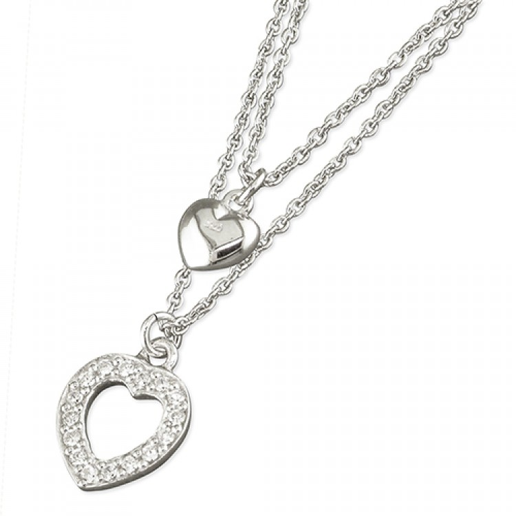 38-42cm cubic zirconia and plain hearts with chain