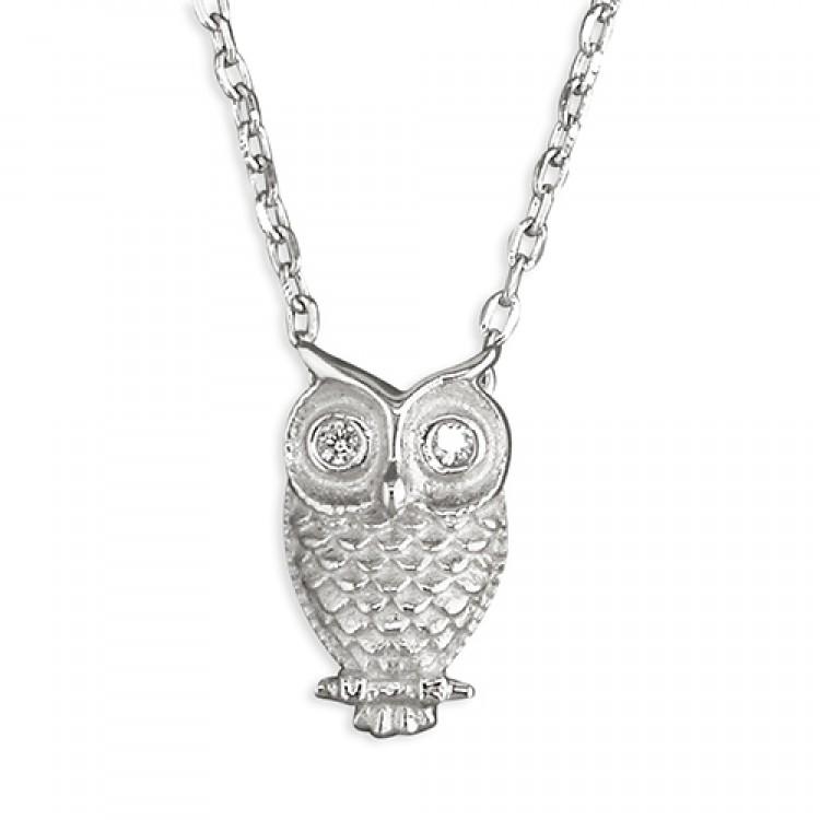 40-44cm owl with cubic zirconia eyes