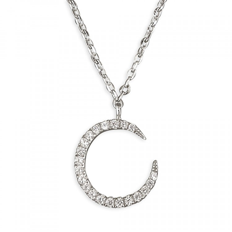 39-44cm cubic zirconia outline crescent moon
