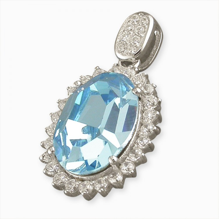 Large blue cubic zirconia halo with cubic zirconia bale