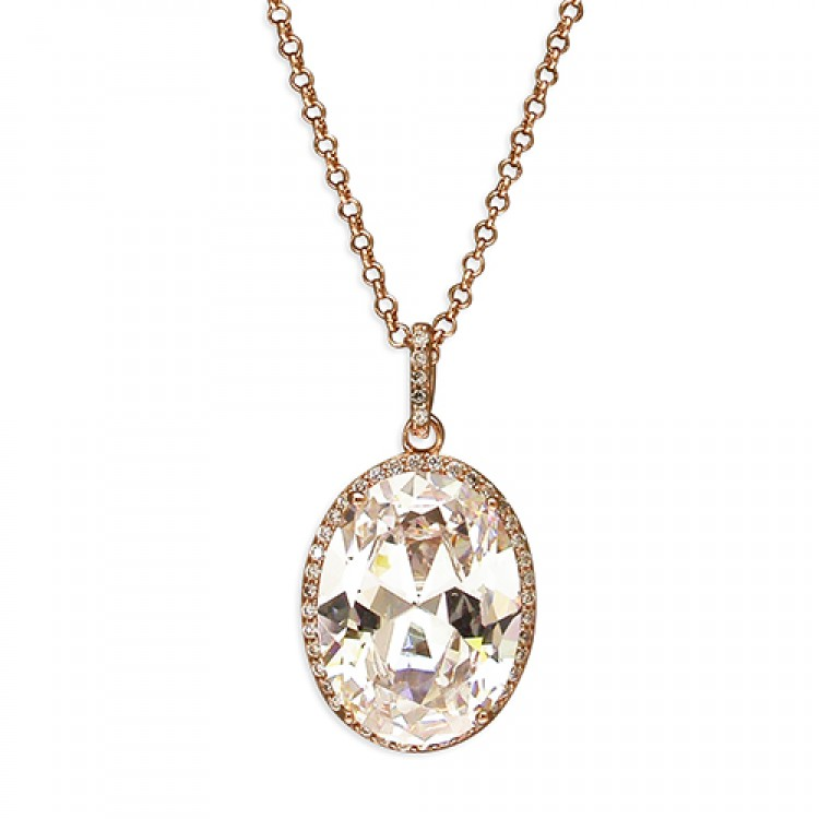 41-49cm rose gold-plated oval cubic zirconia halo