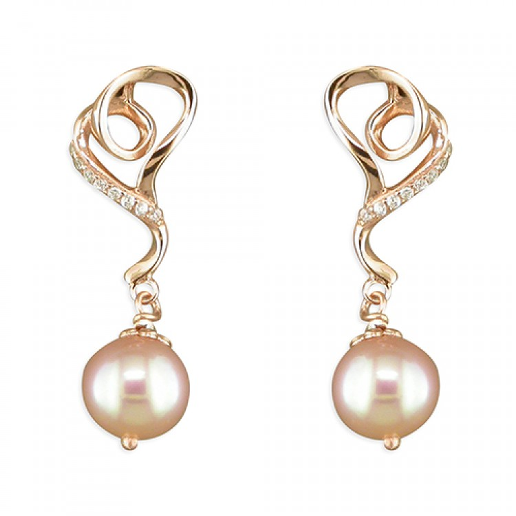 Rose gold-plated cubic zirconia and pink freshwater pearl fancy